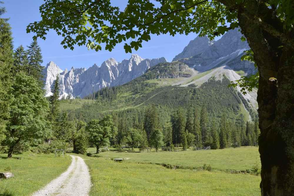 Hier entlang wandern auch Sie auf der Karwendeltour: Der kleine Ahornboden mit den steilen Zacken der Lalidererwände